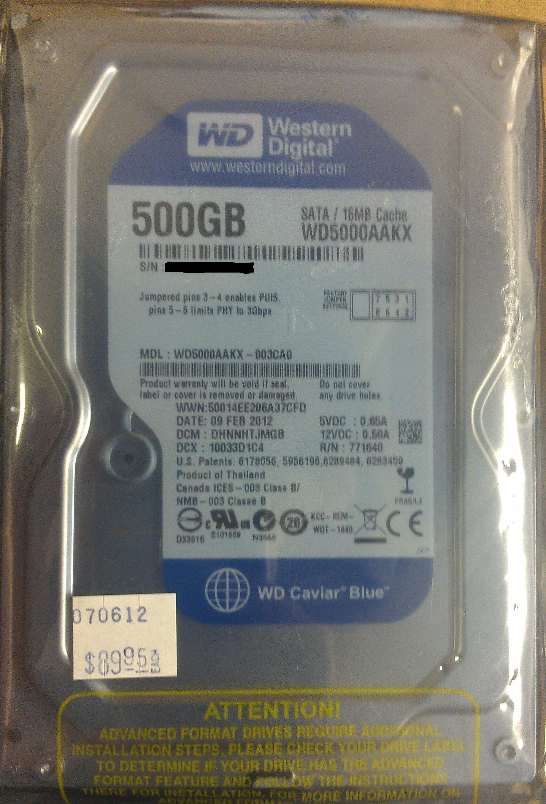 "WD 500GB SATA 3.5"" Hard Drive"