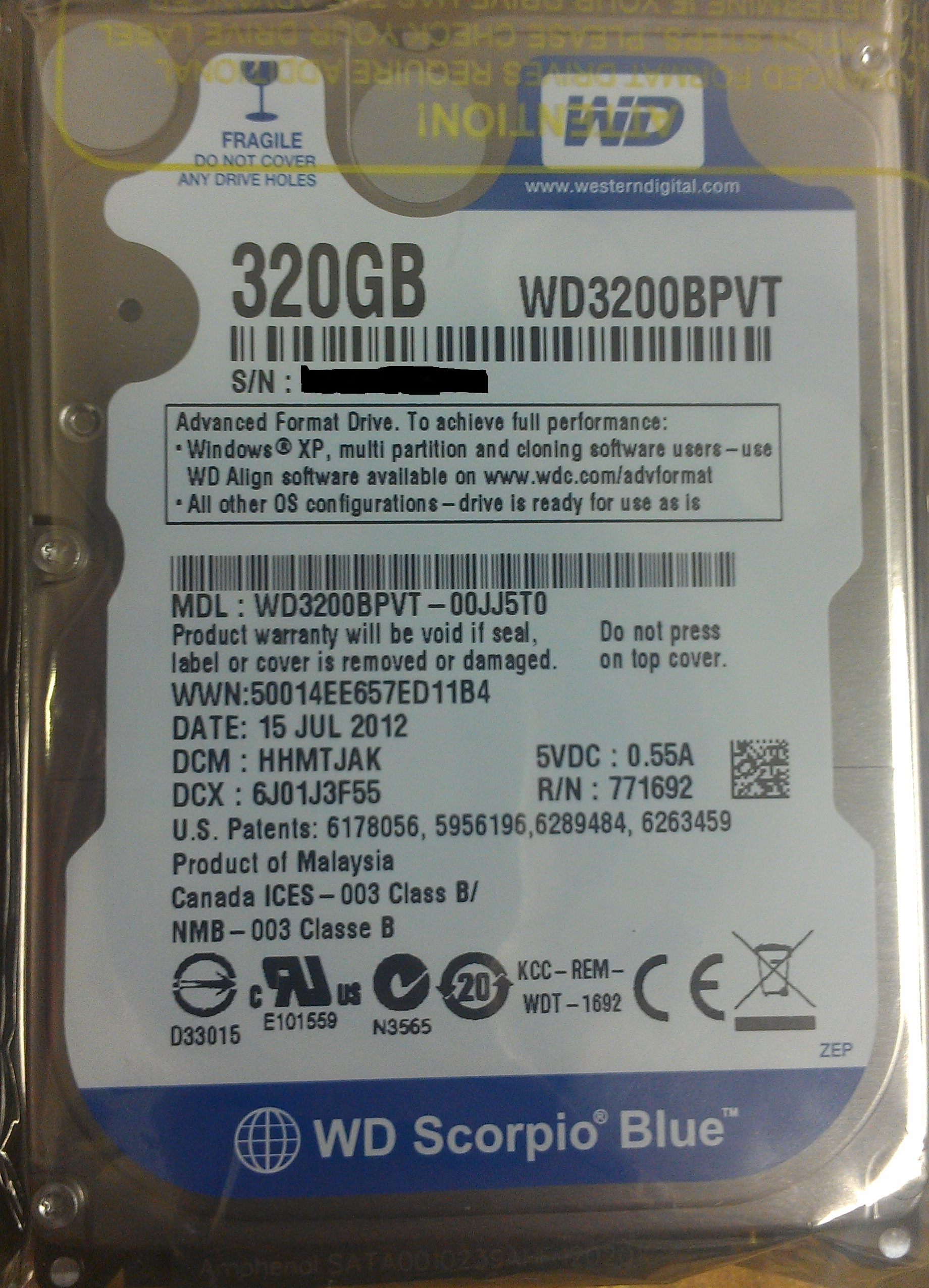 "Western Digital 320GB 2.5"" SATA Hard Drive"